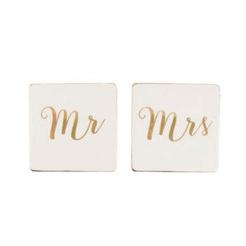Posavasos Mr y Mrs Oro- Compra en The Wedding Shop