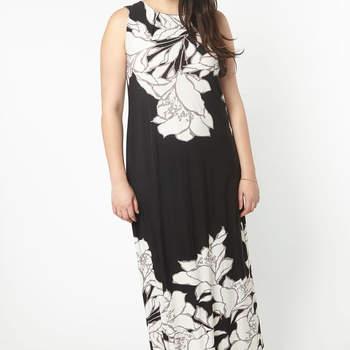 Black Floral Border Maxi Dress. Credits: Evans