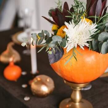 Calabazas para decorar boda estilo halloween