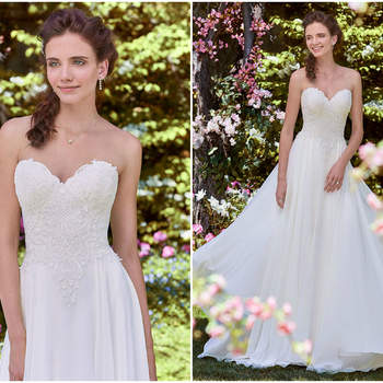 Eine sehr zarte Variante eines Brautkleides mit lieblichem Chiffonrock und verziertem Herzausschnitt.