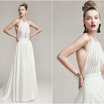 """Vestido frente única com shape moderno e atual! Escolha perfeita para noivinhas elegantes e contemporâneas, que querem algo """"fora do clássico"""", mas ao mesmo tempo extremamente elegante, para o dia do casamento.  <a href=""""https://www.maggiesottero.com/sottero-and-midgley/nicole/9874"""" target=""""_blank"""">Sottero &amp; Midgley</a>"""