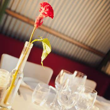 Klassiker unter der Tischdeko: Rot. Foto: 2Rings Trouwfotografie (Holland)