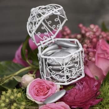 Cage À Dragées Blanc 2 Pièces - The Wedding Shop !