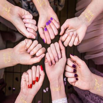 """Tatuajes """"Team Bride"""" Oro 13 unidades- Compra en The Wedding Shop"""
