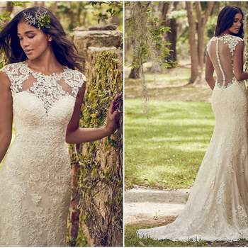 """Classic lace motifs cascade over this tulle sheath wedding dress, accenting the illusion jewel over sweetheart neckline, illusion cap-sleeves, and illusion back. Lined with Inessa Jersey for a luxe fit. Finished with covered buttons and zipper closure.  <a href=""""https://www.maggiesottero.com/maggie-sottero/nori/11180?utm_source=zankyou&amp;utm_medium=gowngallery"""" target=""""_blank"""">Maggie Sottero</a>"""