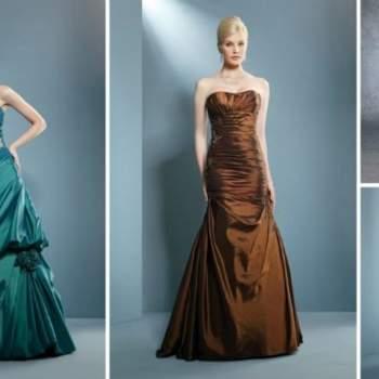 Pour un mariage plus habillé ou plutôt pour une soirée, on mise sans hésiter sur la robe longue. Robes bustiers et couleurs diverses pour ces robes de cocktail Demetrios 2012.