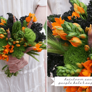 El color anaranjado le dará vida a tu vestido de novia. Foto de Green Wedding Shoes.
