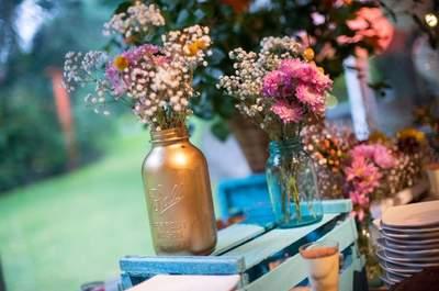 Frascos de vidrio para tu matrimonio. ¡Dale un efecto fresco a la decoración!