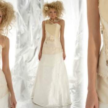 Robe de mariée Elsa Gary 2012, modèle Eden. Cette bretelle asymétrique toute en finesse et en discrétion, donne une touche originale à cette robe. - Source : Elsa Gary