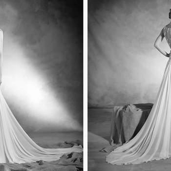 Dieser Entwurf ist aus Seidenchiffon und besticht durch seine zeitlose Eleganz.