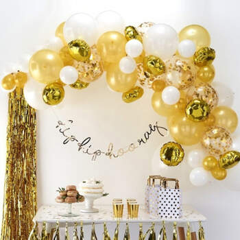 Arco de globos de oro 70 unidades- Compra en The Wedding Shop