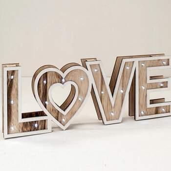Panneau En Bois LOVE Avec Led - The Wedding Shop !