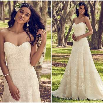 "This A-line wedding dress features horizontal lace motifs atop tulle. Complete with strapless sweetheart neckline. Finished with inner shapewear and crystal buttons over zipper closure.  <a href=""https://www.maggiesottero.com/maggie-sottero/renee/11190?utm_source=zankyou&amp;utm_medium=gowngallery"" target=""_blank"">Maggie Sottero</a>"