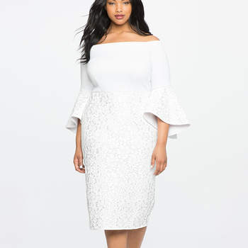 Lace Ruffle Sleeve Off the Shoulder Dress. Credits- Eloquii