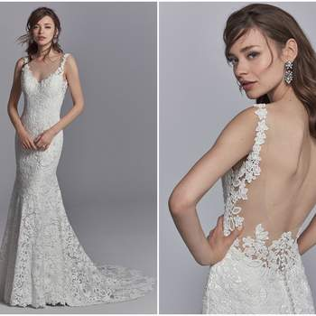 "Allover lace motifs cascade over tulle in this boho wedding dress, accenting the V-neckline, illusion straps, and illusion scoop back. An illusion train accented in lace motifs completes this fit-and-flare gown. Finished with covered buttons over zipper closure.  <a href=""https://www.maggiesottero.com/sottero-and-midgley/presca/11223?utm_source=zankyou&amp;utm_medium=gowngallery"" target=""_blank"">Sottero and Midgley</a>"