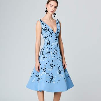 Vine embroidered silk-failleI cocktail dress. Credits: Oscar de la Renta