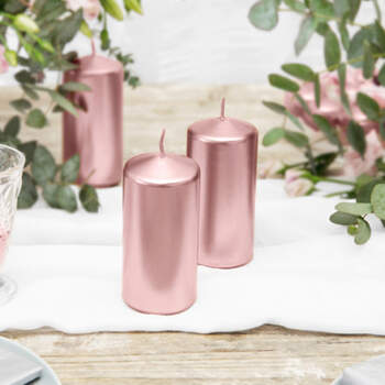 Velas Decorativas Cilíndricas Oro Rosa 6 piezas- Compra en The Wedding Shop