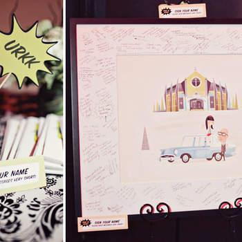 Décoration amusante et fantaisiste pour votre buffet et repas de mariage. Photo : Green Wedding Shoes