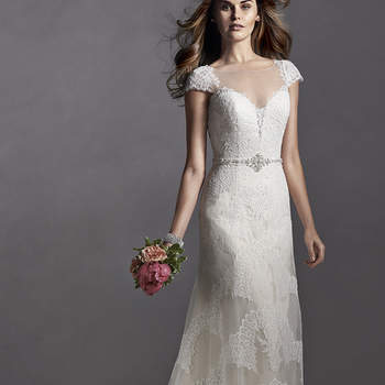 """Delicate lace cap-sleeves and an illusion neckline adorn this romantic A-Line dress. Optional detachable beaded belt glitters with Swarovski crystals. Finished with covered button over zipper and inner elastic closure.  <a href=""""http://www.sotteroandmidgley.com/dress.aspx?style=5SS030"""" target=""""_blank"""">Sottero and Midgley Spring 2015</a>"""