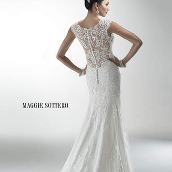 "Delicate corded lace on tulle skims the shoulders and neckline of this lightweight gown while buttons trail a zipper closure accenting an illusion back. Offered with Monroe slip dress or slip dress with raised back.  <a href=""http://www.maggiesottero.com/dress.aspx?style=4MS061"" target=""_blank"">Maggie Sottero Platinum 2015</a>"