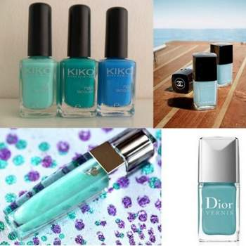 Vernis Kiko, Chanel Le Vernis Riva et Dior Vernis Croisette. Lipgloss Color Fever Green Petal Lancome