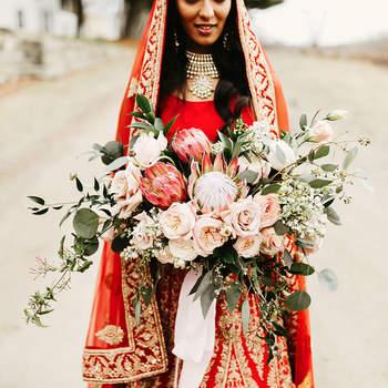 Bouquet de mariée fleurs roses Pat Furey Photography