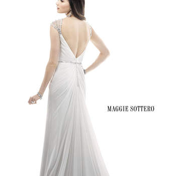"Stunning jeweled cap-sleeves dust the shoulders of this glamorous Paris Chiffon over Rosario Crepe Back Satin sheath dress. Swarovski crystals cinch the waist on a thin, beaded waistband. Finished with zipper back closure.  <a href=""http://www.maggiesottero.com/dress.aspx?style=4MC897"" target=""_blank"">Maggie Sottero Platinum 2015</a>"