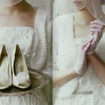 Sapatos e luvas vintage.