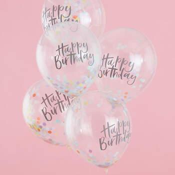 Globos de Cumpleaños Pastel 5 unidades- Compra en The Wedding Shop