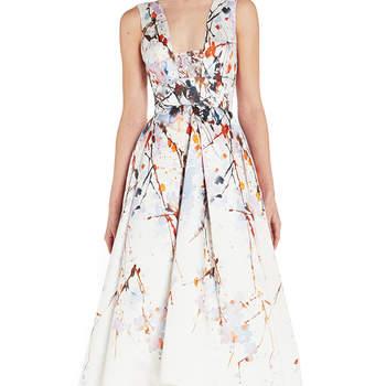 Splash print mikado tea length dress. Credits: Monique Lhuiller