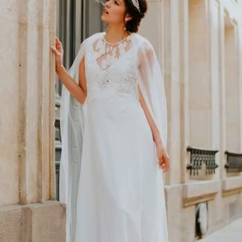 Robe de mariée simple modèle feuille - Crédit photo: Elsa Gary