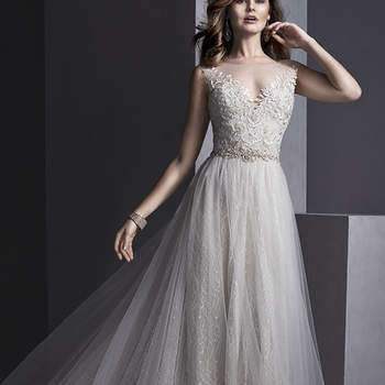 """Flowing tulle over romantic lace combine to create this sheath dress, with stunning illusion neckline and back, adorned with lace appliqués. Swarovski crystal belt accents the waist. Finished with crystal button over invisible zipper closure.  <a href=""""http://www.sotteroandmidgley.com/dress.aspx?style=5SR104"""" target=""""_blank"""">Sottero and Midgley Spring 2015</a>"""