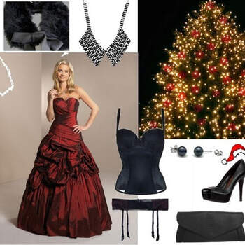 CHRISTMAS BRIDE: The red dress from the wedding and evening dress collection by the German label Kleemeier perfectly symbolizes the Christmas atmosphere in December. To make the outfit perfect, the bride wears trendy leather high heels by Ravel. As the dress is already very extravagant, the handbag has to be in a simple style - black handbag from See by Chloé. Winters in Germany are cold, so the bride can put on a fur stole when she gets cold. Underneath the dress it becomes sexy - the bride wears a corsage and suspender by Triumph. You can remove the holders of the corsage, so nothing will be seen. To give the outfit an elegant touch, the bride wears earrings by Edelkontor and a necklace by River Island. (Germany)