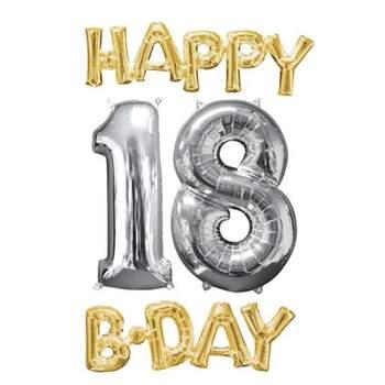 Set Ballons Happy B-Day 18 Or Et Argent - The Wedding Shop !