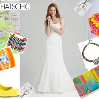 NEON GLOW: We understand that the traditional often fights with the avant-garde; However, we are also aware of the number of brides who want to mark their wedding day with a unique outfit, full of originality. Adds pops of eye-catching color using a straight cut dress with few details, but accessorize with bracelets, watches, shoes and a clutch in neon colors like green, yellow, pink or orange. Ah, and don't forget a good manicure! (Mexico)