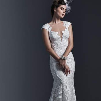 """Cette robe aux apparences sages est absolument divine. Robe de mariée au fourreau moulant et le décolleté plongeant  sont d'une finesse exquise.  <a href=""""http://www.sotteroandmidgley.com/dress.aspx?style=5ST660"""" target=""""_blank"""">Sottero &amp; Midgley</a>"""