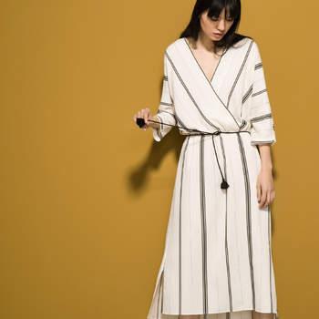Credits : Massimo Dutti. Robe style Kimono à rayures.