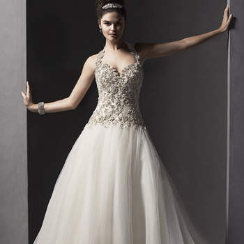 """Elaborate Swarovski crystals adorn the fitted bodice of this ballgown, complete with tulle skirt. Finished with a detachable dazzling halter, sweetheart neckline and corset back closure. Also available with crystal button over zipper and inner corset closure.   <a href=""""http://www.sotteroandmidgley.com/dress.aspx?style=5SR041LU"""" target=""""_blank"""">Sottero and Midgley Spring 2015</a>"""