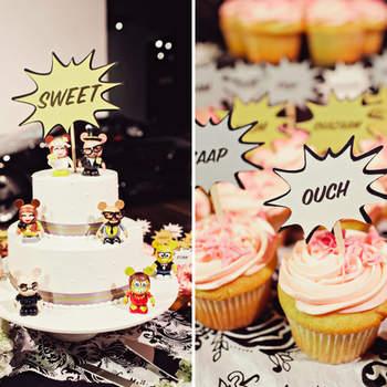 Décoration amusante et fantaisiste pour votre buffet de desserts. Photo : Green Wedding Shoes