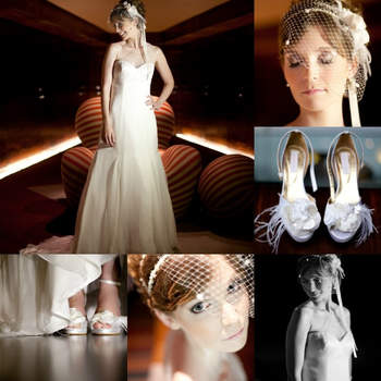 MODERN ROMANCE: Clean and modern romantic look. Wedding dress Carol Hungary. Photo: Anderson Marcello. Strapless wedding dress with transparent detail on one shoulder, illuminating and enhancing the body of the bride. Lightweight, with a touch of vintage and romance. Hairstyle with pearl tiara, flowers and cap. White sandal with feather details. A bright, cheerful and super stylish bride. (Brazil)