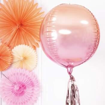 Ballon Foil Sphérique Holographique Orange Et Rose - Achetez sur The Wedding Shop !