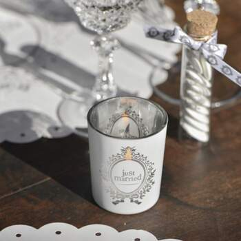 Bougeoir En Verre Just Married - The Wedding Shop !