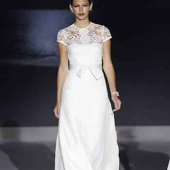 Petites manches en dentelle ravissantes, taille bien marquée : ce modèle est de toute beauté. Photo : Barcelona Bridal Week