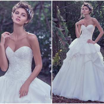 """The fitted bodice adorned with exquisite beadwork and lace, puts emphasis on the feminine shape, before meeting a voluminous, layered Opal organza ball gown skirt. Finished with a sweetheart neckline and corset closure.   <a href=""""https://www.maggiesottero.com/maggie-sottero/florentina/9735"""" target=""""_blank"""">Maggie Sottero</a>"""