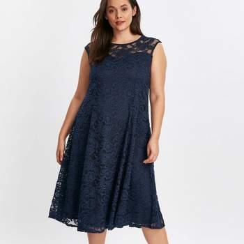 Grace Navy Blue Lace Skater Dress, Evans