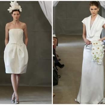 Vestidos de novia con lineas en V en el pecho para estilizar la figura.