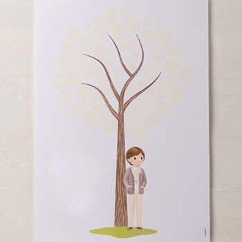 Libro de Firmas Comunión: Árbol y Niño Color Marfil- Compra en The Wedding Shop