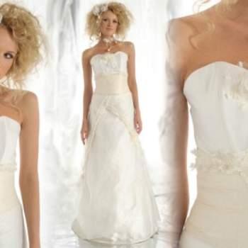 Robe de mariée Elsa Gary 2012, modèle Gardenia. Coupe ajustée et jolies broderies. - Source : Elsa Gary