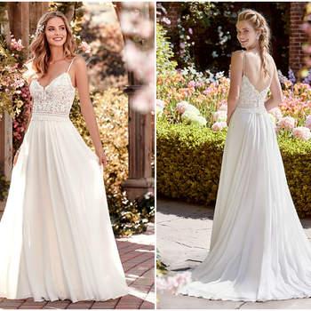 Hier wird ein Bohème Touch deutlich, der das frische Brautkleid mit den schmalen Trägern perfekt macht für eine Hochzeit im Frühling.