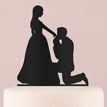 Cake Topper Silhouette À Genoux Devant Toi Noir - The Wedding Shop !